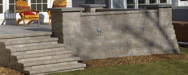 eagle bay brisa retaining wall wallstone at Patuxent Nursery in Bowie, MD