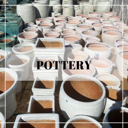 white ceramic outdoor pottery