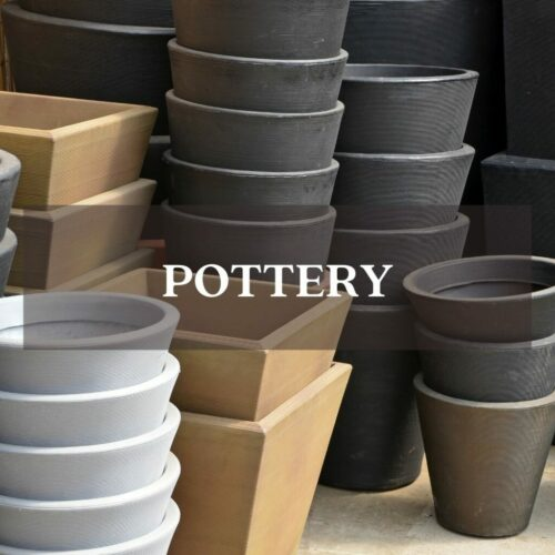 gray tan and stone pottery stacked planters