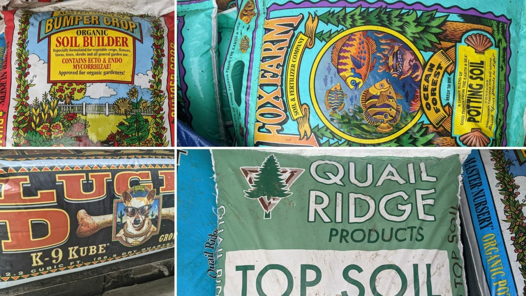 collage of four types of soil for sale at patuxent nursery