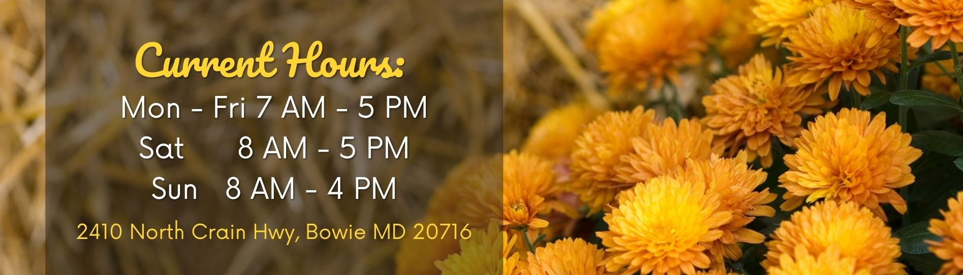 Mums and Hay New Store Hours Banner