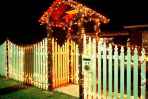 christmas lights on fence and entryway inspiration photos