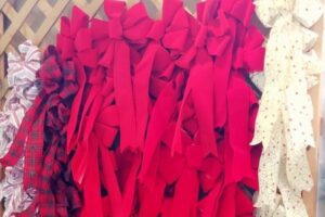 wall of red ribbons at patuxent nursery
