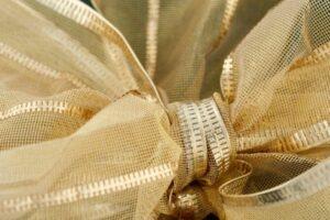 Closeup of gold ribbon