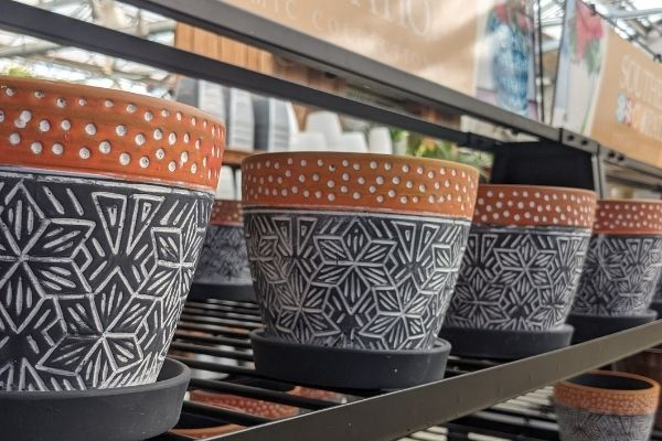 patterned pottery for indoor and outdoor planters
