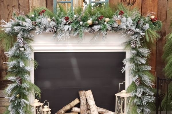 decorated garland over mantle fireplace