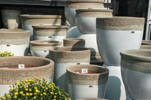 white pottery glazed terra cotta planters for container gardens