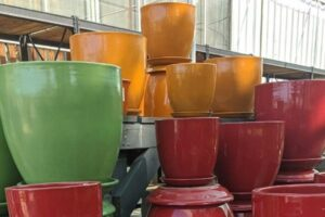 colorful outdoor pottery glazed planters