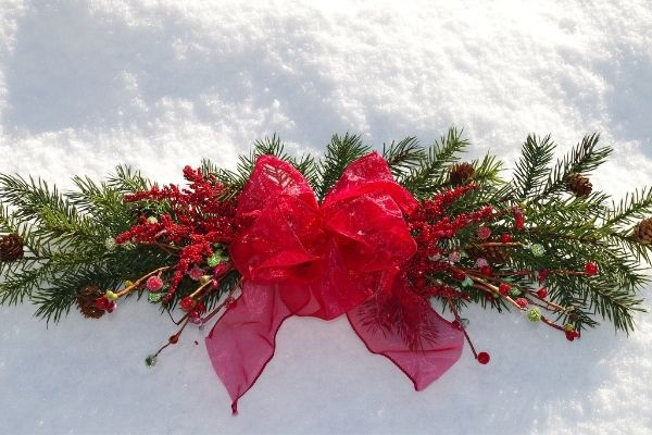 Evergreen Bundle Centerpiece with ribbon