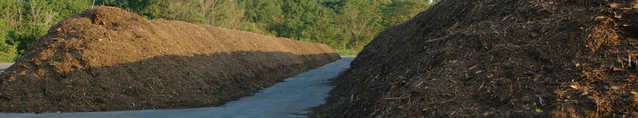 huge pile of bulk organic mulch